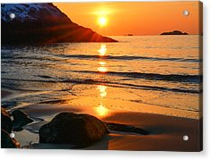Golden Morning Singing Beach Acrylic Print by Michael Hubley