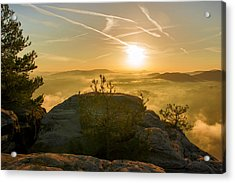 Golden Morning On The Lilienstein Acrylic Print