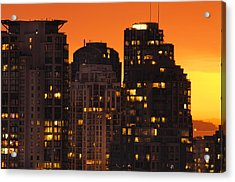 Acrylic Print featuring the photograph Golden Orange Cityscape Dccc by Amyn Nasser