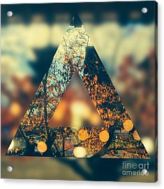 Golden Orange Fall Triangle Acrylic Print by Beverly Claire Kaiya