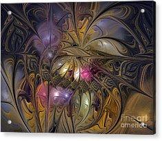 Golden Ornamentations-fractal Design Acrylic Print by Karin Kuhlmann
