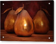 Golden Pears I Acrylic Print by April Moen