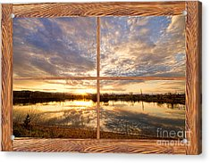 Golden Ponds Sunset Reflections  Barn Wood Picture Window View Acrylic Print by James BO  Insogna