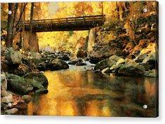Golden Reflection Autumn Bridge Acrylic Print by Dan Sproul
