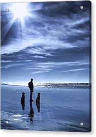 Golden Retriever Dogs End Of The Day Acrylic Print by Jennie Marie Schell