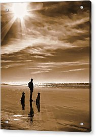 Golden Retriever Dogs End Of The Day Sepia Acrylic Print by Jennie Marie Schell
