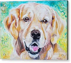 Acrylic Print featuring the painting Golden Retriever by PainterArtist FINs husband Maestro