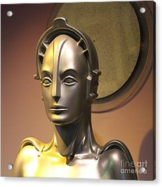 Acrylic Print featuring the photograph Golden Robot Lady Closeup by Cynthia Snyder
