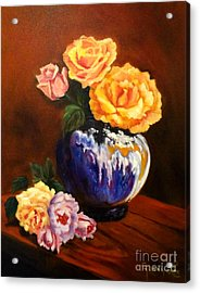 Acrylic Print featuring the painting Golden Roses by Jenny Lee