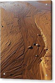 Golden Sand Streams Acrylic Print by Kathi Mirto