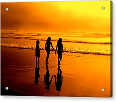 Acrylic Print featuring the photograph Golden Sands  by Micki Findlay