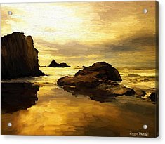 Acrylic Print featuring the painting Golden Sands by Wayne Pascall