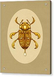 Golden Scroll Beetle Acrylic Print