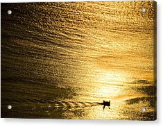Golden Sea With Boat At Sunset Acrylic Print