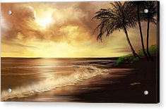 Golden Sky Over Tropical Beach Acrylic Print