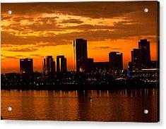 Golden Skys Cloak The Long Beach Skyline Acrylic Print