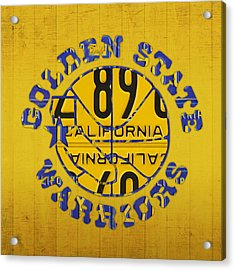Golden State Warriors Basketball Team Retro Logo Vintage Recycled California License Plate Art Acrylic Print by Design Turnpike