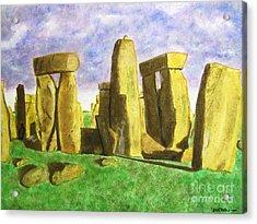 Golden Stonehenge Acrylic Print