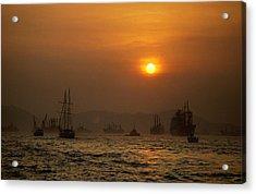 Golden Sunlight Over Victoria Harbour Acrylic Print