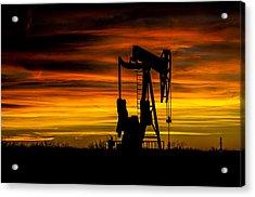 Golden Sunrise And West Texas Black Gold Acrylic Print