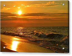 Golden Sunrise Colors With Waves And Horizon Clouds On Navarre Beach Acrylic Print by Jeff at JSJ Photography