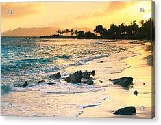 Golden Sunrise On Sapphire Beach Acrylic Print by Roupen  Baker
