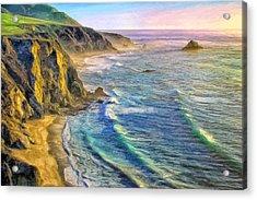 Golden Sunset At Big Sur Acrylic Print