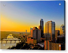 Golden Sunset In Austin Texas Acrylic Print by Kristina Deane