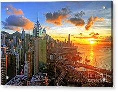 Golden Sunset In Hong Kong Acrylic Print
