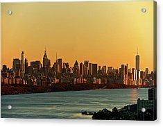 Golden Sunset On Nyc Skyline Acrylic Print by Robert D. Barnes