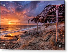 Golden Sunset The Surf Shack Acrylic Print by Peter Tellone