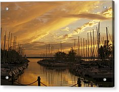 Golden Sunset With Sailboats Acrylic Print