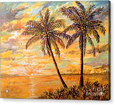 Acrylic Print featuring the painting Golden Tropics by Lou Ann Bagnall