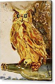 Goldene Bier Eule Acrylic Print by Beverley Harper Tinsley