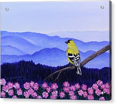 Acrylic Print featuring the painting Goldfinch And Rhododendrens by Janet Greer Sammons