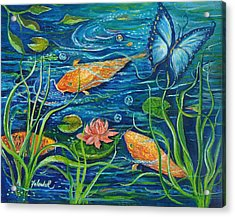 Goldfish And Butterfly Acrylic Print