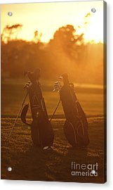 Golf Bags At Sunset Acrylic Print by Diane Diederich