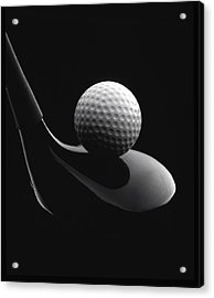 Golf Ball And Club Acrylic Print by John Wong