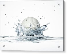 Golf Ball Splashing Into Water Acrylic Print by Leonello Calvetti