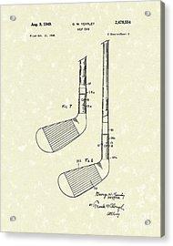 Golf Club 1949 Patent Art Acrylic Print by Prior Art Design