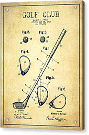 Golf Club Patent Drawing From 1910 - Vintage Acrylic Print