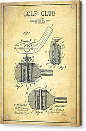 Golf Clubs Patent Drawing From 1904 - Vintage Acrylic Print by Aged Pixel
