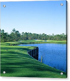 Golf Course At The Lakeside, Regatta Acrylic Print by Panoramic Images