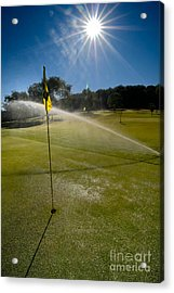 Golf Course Sprinkler On Sunny Day Acrylic Print by Amy Cicconi