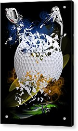 Golf Explosion Acrylic Print by Davina Washington