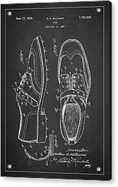 Golf Shoe Patent Drawing From 1927 Acrylic Print by Aged Pixel