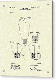 Golf Trousers 1899 Patent Art Acrylic Print