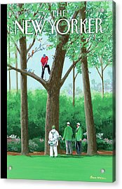 Golfer Making A Shot In A Tree While Different Acrylic Print