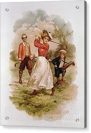 Golfing Acrylic Print by Ellen Hattie Clapsaddle