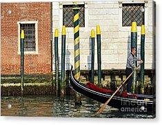 Gondola By Buildings On Grand Canal Acrylic Print by Sami Sarkis